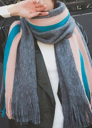 Широкий теплый шарф 6006