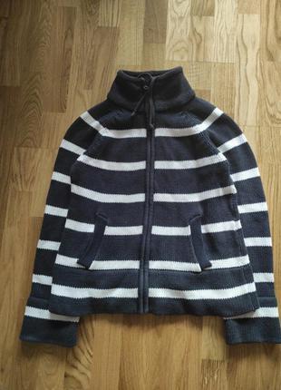 Теплый красивый свитер кофта в полоску хлопковий