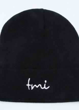 Модная черная шапка бини с надписью 2015