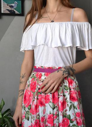 Белый топ-блуза с открытыми плечами из вискозы h&m