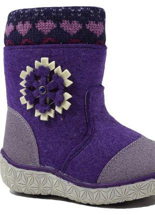 Валенки, сапоги зимние для девочки м.мичи арт.9421c-23 снежинка, purple