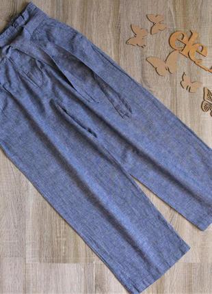 Шикарные брюки кюлоты h&m лён\ коттон eur 38