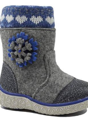 Валенки зимние для девочки м.мичи арт.9421c-3 снежинка, серый