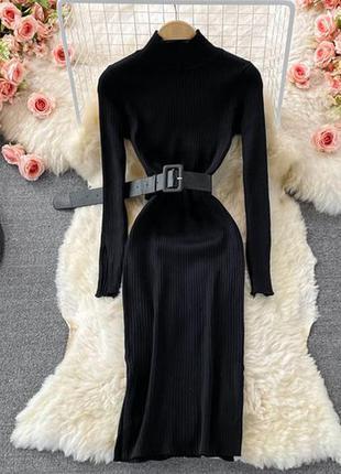 Вязаное платье чёрное из ангоры — 450 грн
