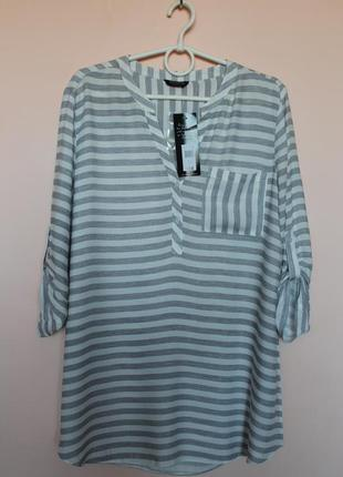 Белая в серую полоску лёгкая натуральная блузка, блуза, блузон, рубашка, рубашечка 48-50 р.