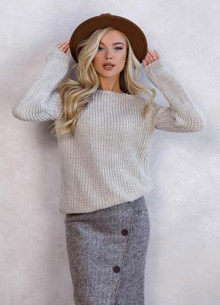 Тёплый вязаный свитер из шерсти с люрексом зима удлиненный