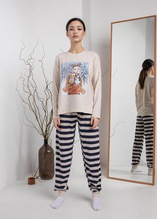 Пижама комплект для дома и сна кофта и штаны в полоску хлопок хлопковая