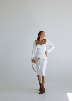Белое платье , платье с квадратным вырезом