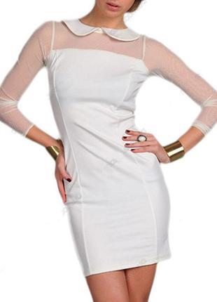 Платье молочное с воротничком и сеточкой м