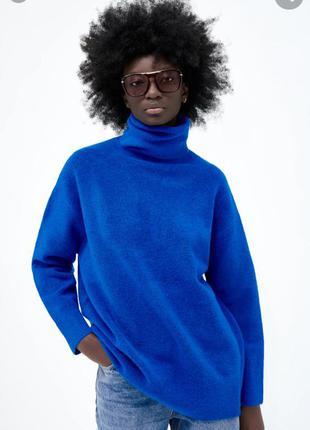 Трендовый синий свитер zara новая коллекция