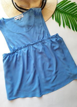 Голубая вискозная блуза
