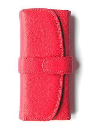 Кожаный классический малиновый кошелек, 100% натуральная кожа, доставка бесплатно.