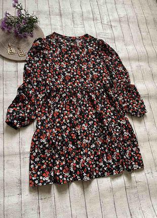 Красивенное ярусное платье в мелкий цветочек