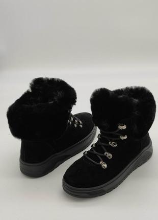 Супер теплые короткие ботинки из натуральной замши