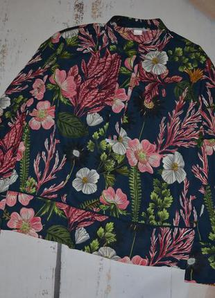 Стильная оверсайз блуза в цветы h&m 38 размер