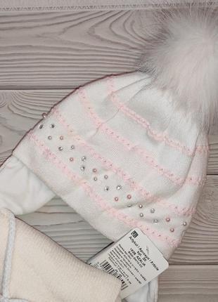 Шапка шарф зимний набор для девочек с бубоном grans