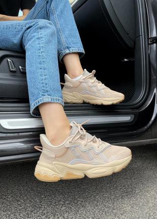 Женские бежевые кроссовки adidas ozweego beige