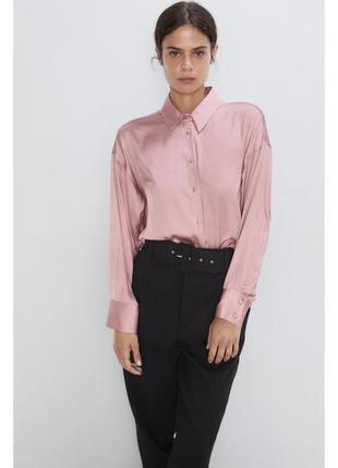 Сатиновая рубашка пудрового цвета от zara 💖