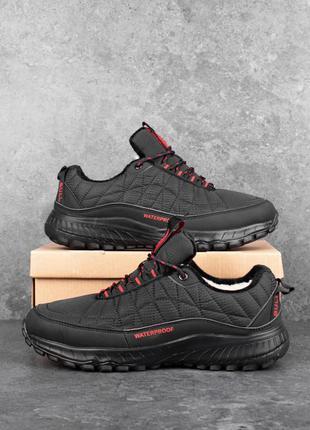Зимние мужские кроссовки булл вотерпруф чорні червона вставка(мех) 41-42-43-44-45-46