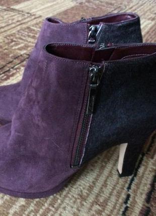 Замшевые ботинки с мехом пони