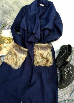 Пальто халат с меховыми карманами