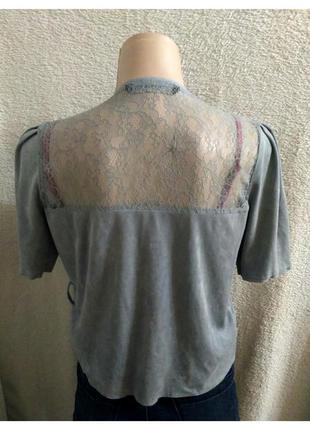 Блузка топ кофта серая zara с кружевом на завязках