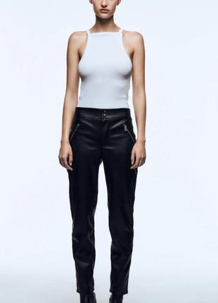 Кожаные брюки zara original spain
