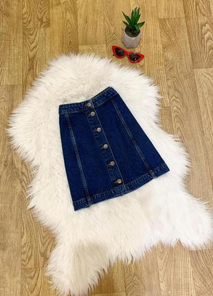 Джинсовая юбка-трапеция с пуговицами 😍
