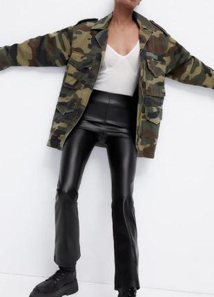 Укороченные кожаные брюки zara original spain