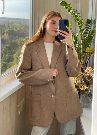 Идеальный кофейный пиджак с мужского плеча  65% шерсть 1+1=3