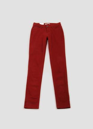 Брюки красные бордовые со средней посадкой и карманами хлопковые camaieu