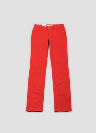 Брюки красные со средней посадкой и карманами хлопковые camaieu