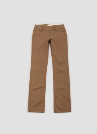 Брюки коричневые со средней посадкой и карманами хлопковые camaieu