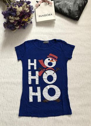 Снизила цену футболка ho-ho-ho в новогоднем стиле