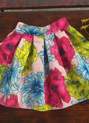Роскошная яркая юбка в цветы! радуга!