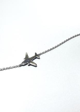 Серебряный браслет «самолет»
