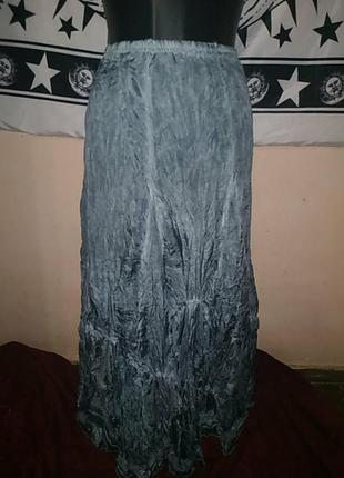Невесомая юбка из драпированного шёлка в стиле бохо винтаж