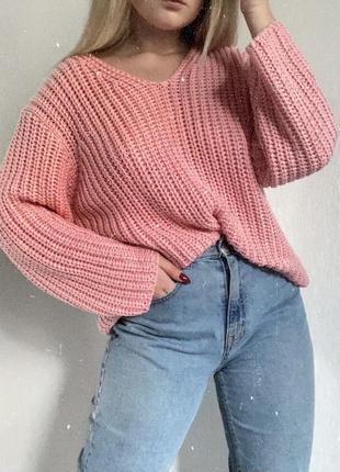 Оверсайз свитер / розовый свитер / вязаный свитер