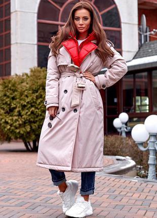 Тренч пальто утеплённый
