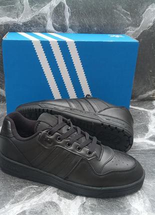Мужские зимние кроссовки adidas drop step кожаные, черные
