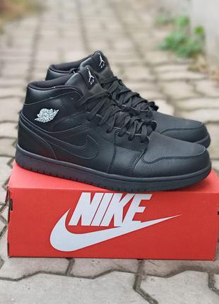 Мужские зимние кроссовки nike air jordan winter кожаные, черные