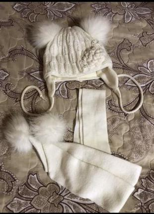 Зимний комплект,набор,шапка и шарф