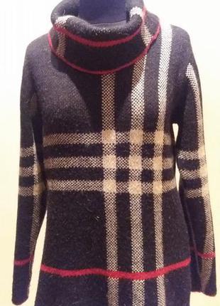 Теплый шерсть.альпака свитер кофта в брендовую клетку  раз.40/l (пог 51см)