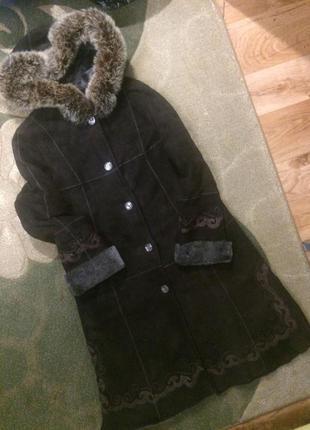 Дубленка шуба пальто с вышивкой estimo