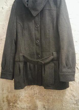 Пальто тёплое шерстяное серое