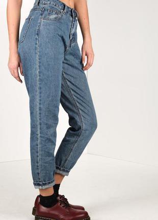 Синие классические джинсы ruby tuesday (xs) с высокой посадкой mom fit