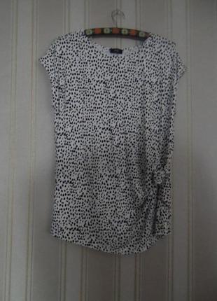 Літня блуза трикотажна біла з чорним  короткий рукав розмір 44 //  xxl