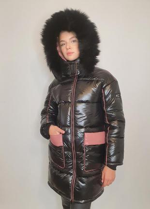 """Зимова куртка """"ірма"""" з натуральним хутром, чорний/пудра"""
