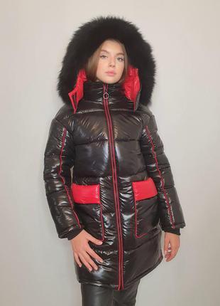 """Зимова куртка """"ірма"""" з натуральним хутром, чорний/червоний"""