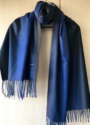 Двусторонний кашемировый шарф cashmere / градиент / ультра синий, серый